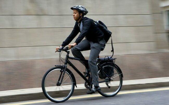 Adult biking to work