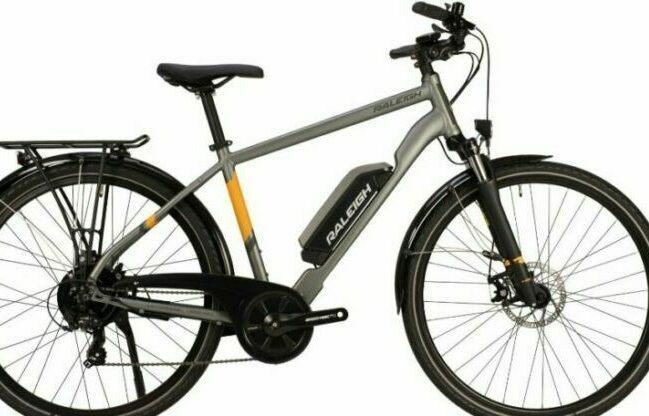 Raleigh Array Hybrid Electric Bike has two models. This model image is named Raleigh Array Crossbar Hybrid Electric bikes for male riders. The other model is named as Raleigh Array Open Hybrid Electric Bike.