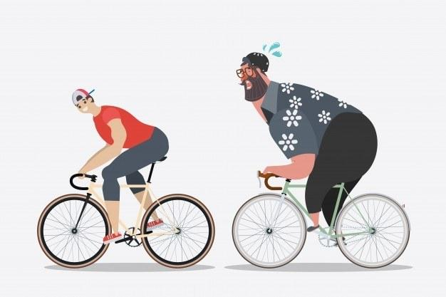 Big guy biking cartoon as feature image for electric bikes for heavy people