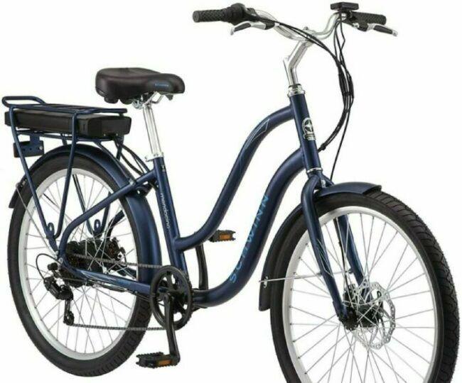 Schwinn Mendicino Adult Hybrid Cruiser Electric Bike is model #3 for Schwinn Electric Bike Sale