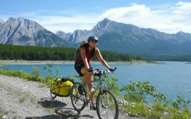 Julia biking as a feature image for best electric bike for women.