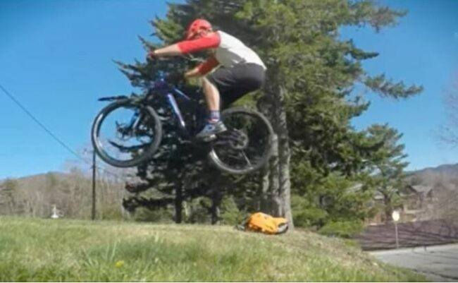 A beginner practice bunny hop as feature image for mountain bike riding videos