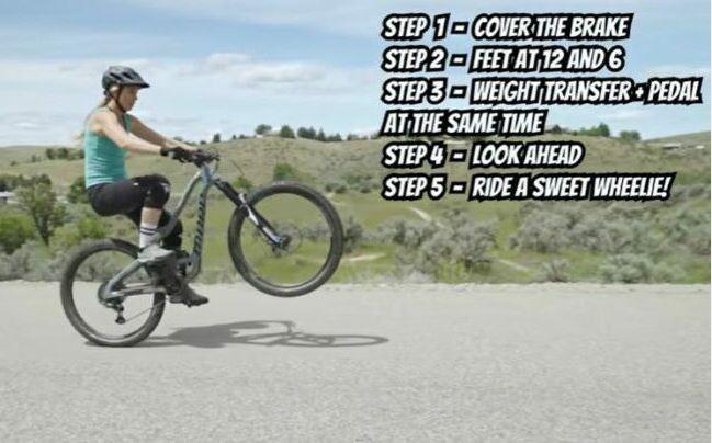Recap the steps of successful wheelie.