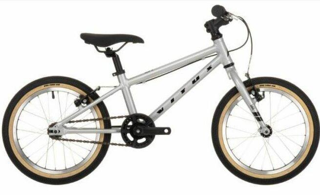 Vitus 16 Kids Bike as model #1 best mountain bikes for children.