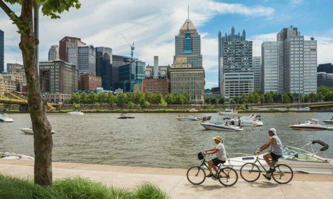 Biking in Pittsburgh as the featured image for Schwinn EC1 Electric Bike Post.