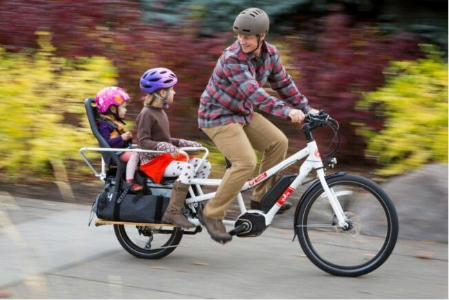 Biking with kids as the featured image for EUNORAU Max Electric Cargo Bike Post.
